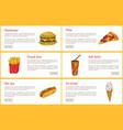 hamburger and pizza slice vector image