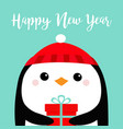 happy new year penguin bird head face holding vector image