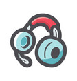 headphones earphones with headset icon vector image vector image