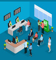 isometric people in bank office concept vector image vector image