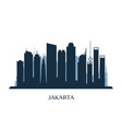 jakarta skyline monochrome silhouette vector image vector image