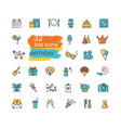 linear birthday icons set happy birthday party vector image vector image