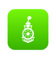 locomotive icon green vector image