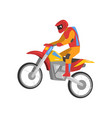 motorcyclist driving motorcycle motocross racing vector image vector image