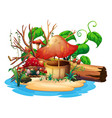 mushroom well on island vector image vector image