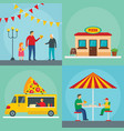 pizza festival food banner concept set flat style vector image vector image