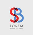 sb logo letters with blue and red gradation vector image vector image