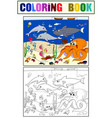 seabed with marine animals coloring for vector image vector image