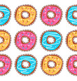 seamless pattern with glazed donuts vector image