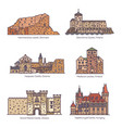 set isolated line castles and architecture vector image vector image