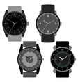 set of four black and white watches vector image vector image