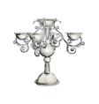 silver candelabrum vector image vector image