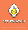 stopwatch colour icon in line design vector image vector image