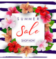 summer sale background with tropical flowers vector image vector image