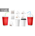 take-out ocher paper cups tea bags mock up vector image vector image