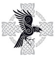the raven of odin in a celtic style patterned vector image vector image