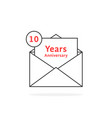thin line 10 years anniversary logo like open vector image