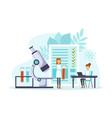 tiny doctors making blood laboratory analysis vector image