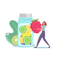 tiny female character put huge raspberry in glass vector image