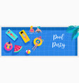 top view beach background pool party summer vector image vector image