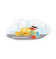transfer to hotel with taxi flat concept vector image vector image