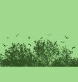 tree and branches with flying birds vector image vector image