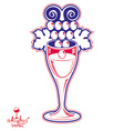 Winery fantasy Elegant wineglass with grape vector image vector image