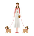 woman walking dogs isolated on a white background vector image