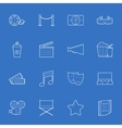 Cinema thin lines icons set vector image