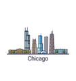 flat line chicago banner vector image