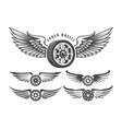 winged wheels emblem set vector image
