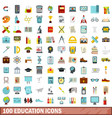 100 education icons set flat style vector image vector image