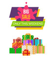 big sale this weekend sticker web poster vector image vector image