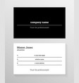black and white business card template vector image vector image