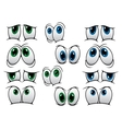 Blue and green cartoon eyes vector image