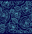 blue outline roses pattern vector image vector image