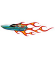 boat race icon with flames art vector image vector image