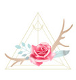 boho styled beautiful pink rose with deer antlers vector image vector image