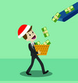 businessman or manager in christmas hat has a vector image vector image