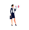 businesswoman with megaphone vector image vector image