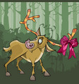 cartoon deer with a bow on horns stands in the vector image