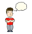cartoon man with crossed arms with thought bubble vector image vector image