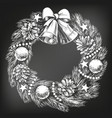 christmas wreath symbol of christianity hand drawn vector image vector image