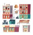 city ghetto architecture elements cartoon vector image