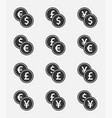 currency exchange icon set dollar euro yen and vector image vector image