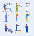 diverse occupation and age people characters set vector image