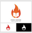 fire book logo book on fire hot learn logo vector image