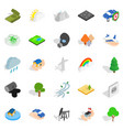 Flammable icons set isometric style
