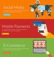 Flat design concept for social media mobile vector image vector image