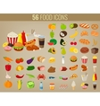 Food icons set Fruits and Vegetables icons Fast vector image vector image